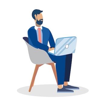 Businessman, freelancer  color illustration