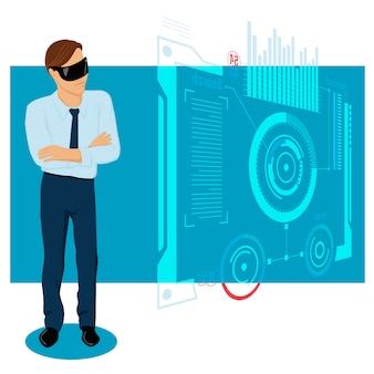 Businessman in the future illustration