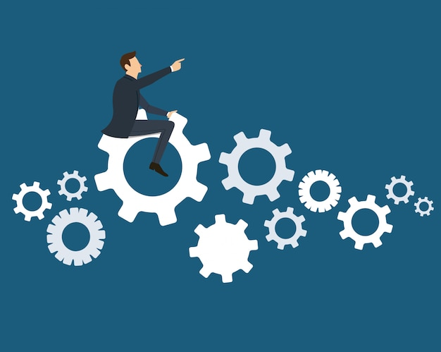 Businessman on the gears icon