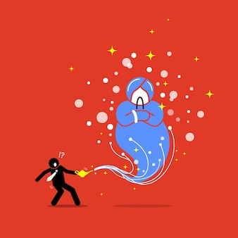 Businessman and a genie in a lamp.  artwork illustration depicts the concept of wish, grant, reward, hope, and luck.