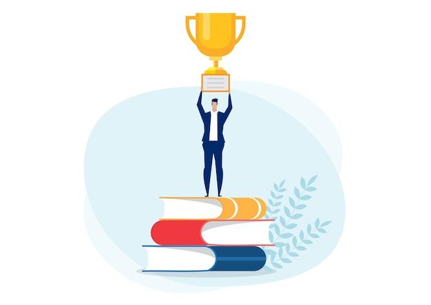 Бизнесмен получает награду на большой книге за успех в бизнесе
