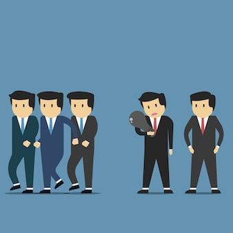 Businessman get idea and rejected by team did not get achievement.