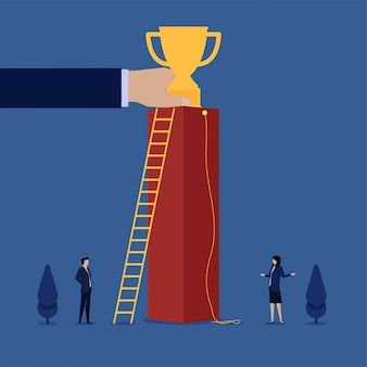 Businessman get ladder and businesswoman get rope to reach the trophy metaphor of gender issue.