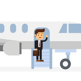 Businessman get off via airstair and welcomes somebody