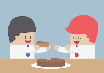 Businessman give a piece of cake to another