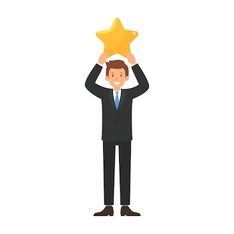 Businessman give a big star to rating