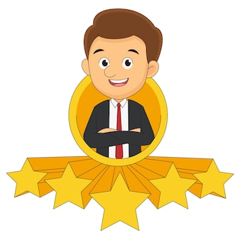 Businessman give a five star to rating