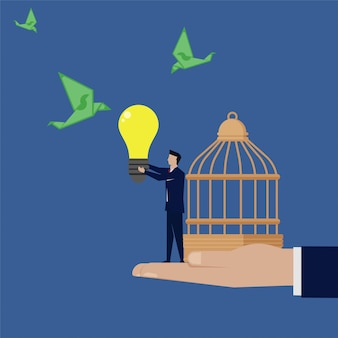 Businessman give idea to attract money and set cage