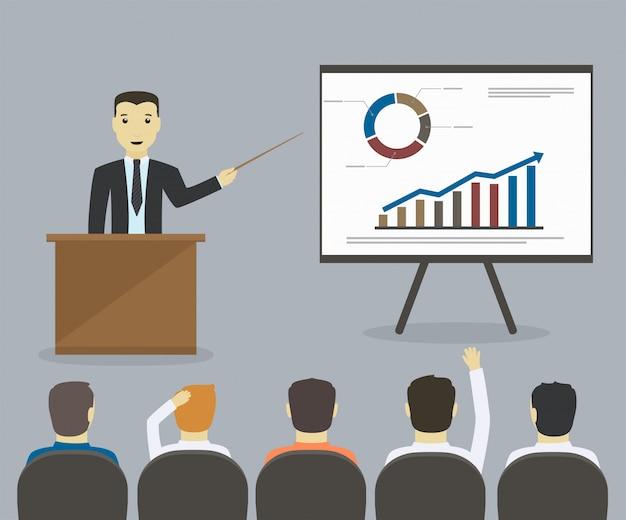 Бизнесмен дает представление или семинар. деловая встреча, обучение