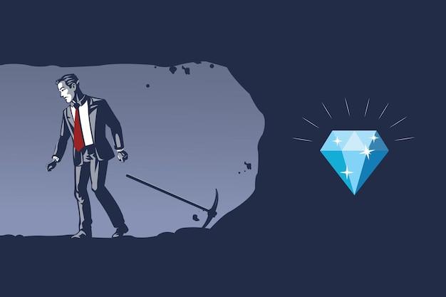 ビジネスマンは貴重なダイヤモンドがほとんど明らかにされていることを知らずに掘ることをあきらめるブルーカラーのイラストの概念