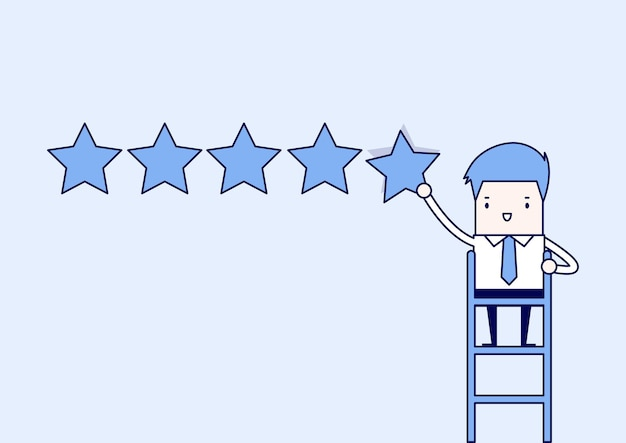 Businessman giving five star rating. cartoon character thin line style vector.