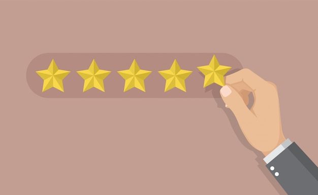 Businessman giving five star rating for feedback