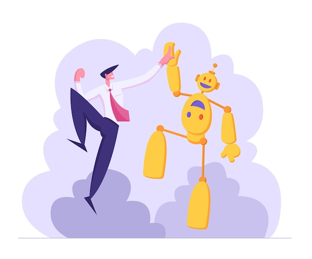 Businessman giving high five to robot illustration