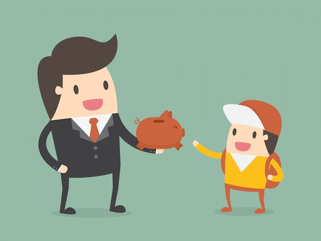 Businessman giving piggy bank to his child
