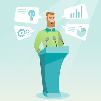 Businessman giving speech at business seminar.