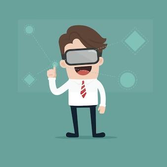 Businessman glasses of virtual reality.