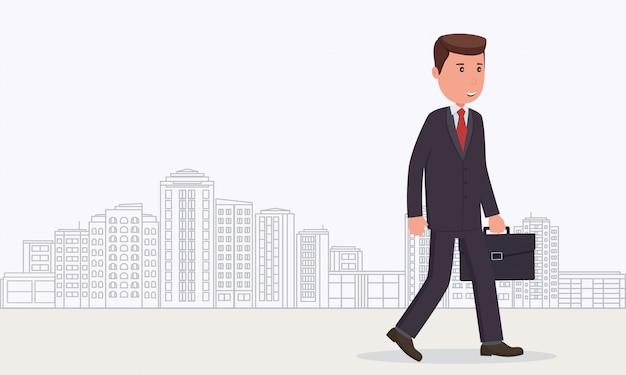 Бизнесмен идет на работу. бизнес-концепция деловой человек на фоне города