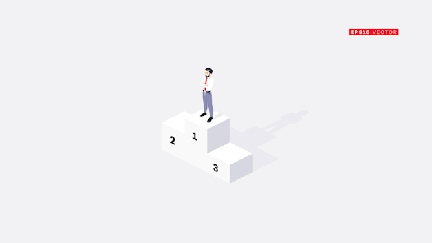 Businessman got 1st place on winners podium. conceptual isometric   illustration