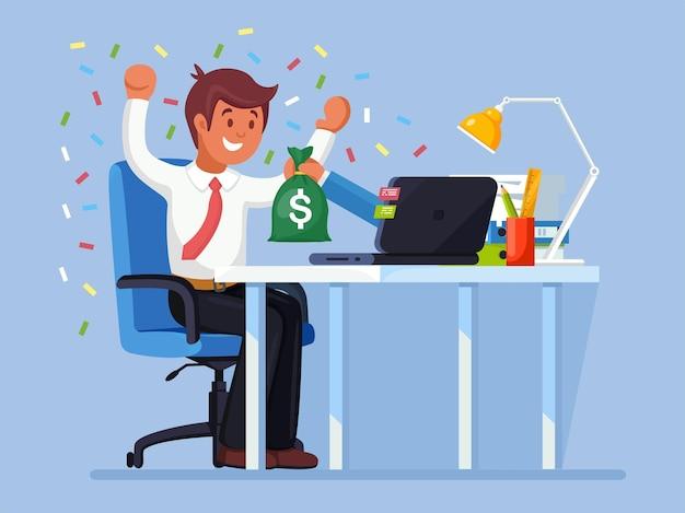 사업가 노트북에서 온라인 경연 대회에서 돈 가방을 얻었다