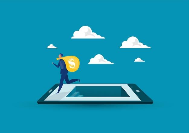 Бизнесмен получил денежный мешок, вложив деньги в планшет, бизнес-ситуация с поиском денег, плоский дизайн
