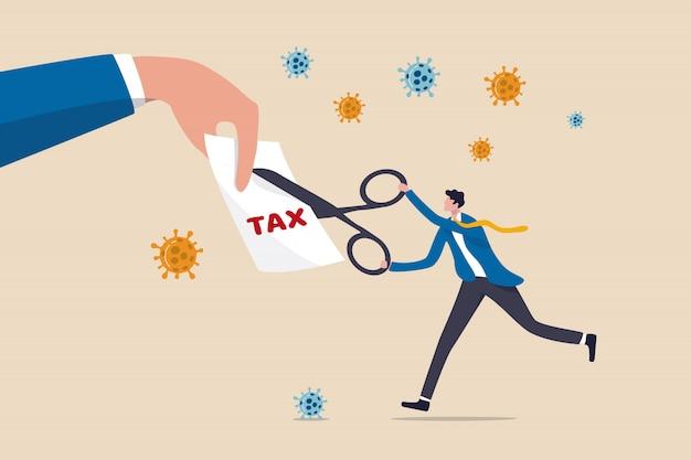 Лидер правительства бизнесмен, используя ножницы, чтобы сократить налоговый счет
