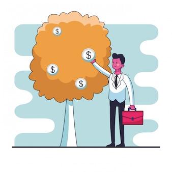 お金、木、ベクトル、イラスト、グラフィック、デザイン、コインをつかむ、ビジネスマン