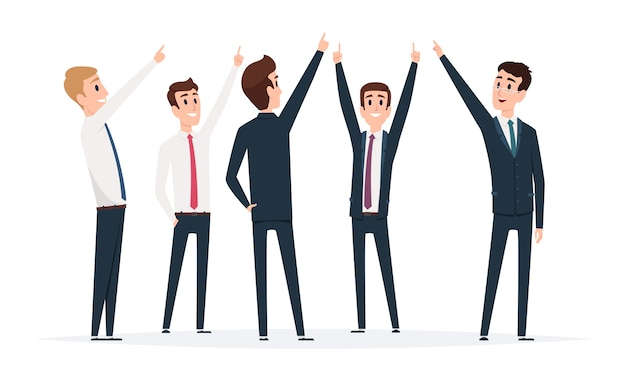 Businessman group pointing. male managers standing and pointing top direction vector illustrations. businessman people with finger showing