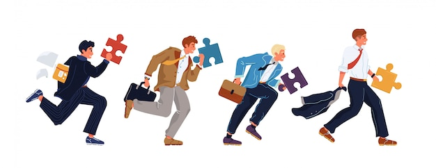 Businessman group running holding puzzle piece
