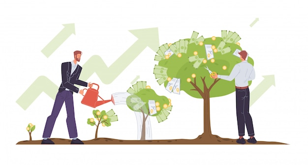 Businessman growing money tree cutting dividends