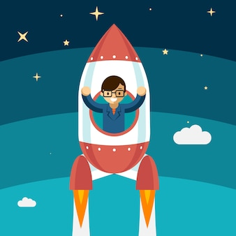 Businessman growing success. rocket fly up, winner person, vector illustration