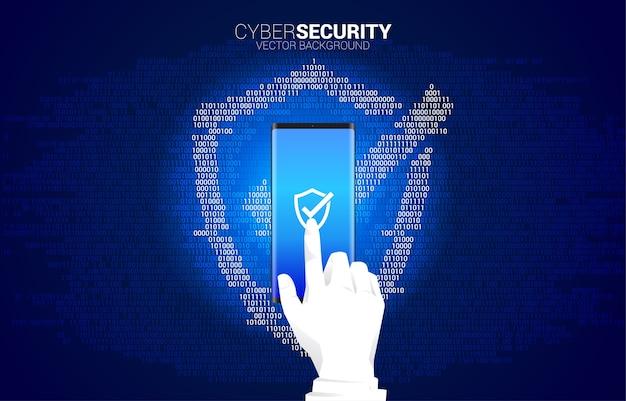 사업가 손 1과 0 이진 코드 자리 매트릭스 스타일에서 보호 방패 아이콘으로 휴대 전화를 클릭합니다. 경비 보안 및 안전의 개념