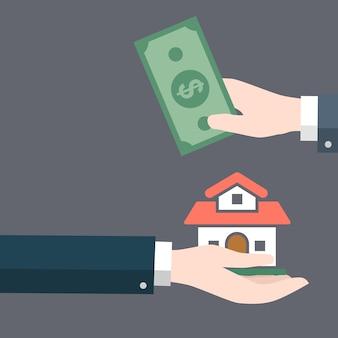 ビジネスマンの手はお金の現金で他の手に家を与える