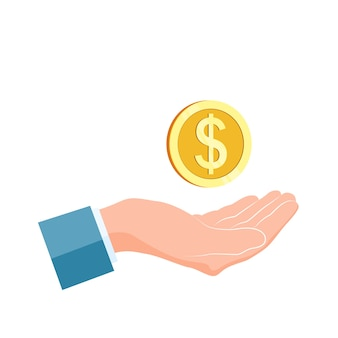 Бизнесмен рука держать золотую монету