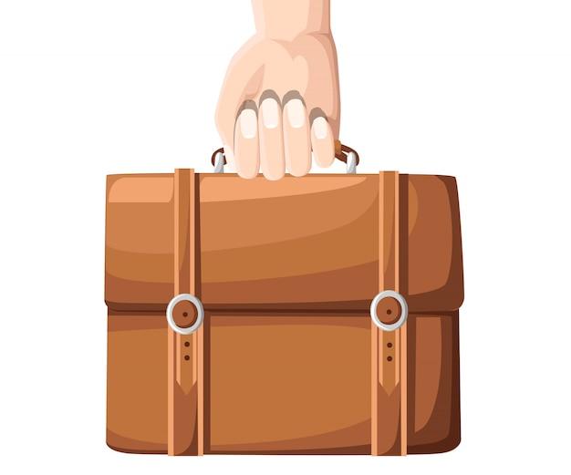 企業のドキュメントとブリーフケースを持っているビジネスマン手。白い背景の上の図。