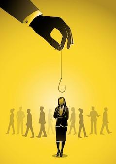 Businessman hand holding hook lures businesswoman manipulation in business danger trap concept