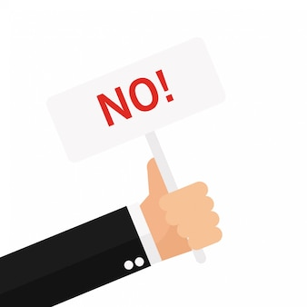 Businessman hand holding placard with no sign