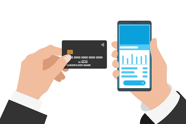 Businessman hand holding smartphone with online banking mobile app and black credit card. buy payment process and bank account balance flat vector eps illustration