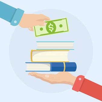 ビジネスマンの手はお金を持って本を買う。教育、勉強の支払い