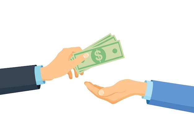 사업가 손에는 돈이 있습니다. 비용을 지불하세요. 자선, 기부 개념