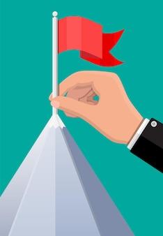 사업가 손은 산의 정상에 깃발을 놓는다. 비즈니스 성공, 목표, 승리, 목표 또는 성취. 경쟁의 승리. 벡터 일러스트 레이 션 평면 스타일