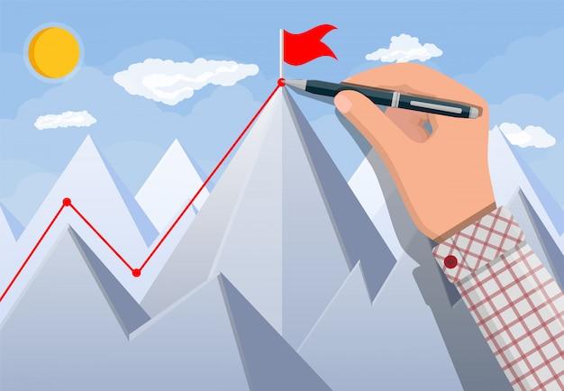 Businessman hand puts flag on peak of mountain.