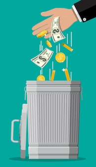Businessman hand putting dollar bills in trash. losing or wasting money, overspending, bankruptcy or crisis.  illustration in flat style
