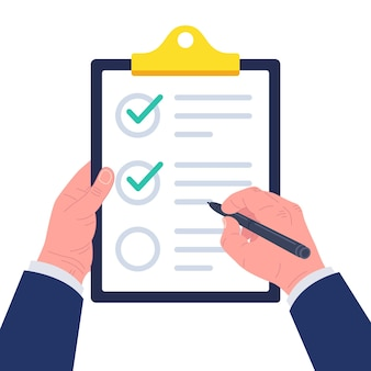 Businessman hand signing document. hand filling checklist on clipboard. form illustration with man signing a paper work document. .