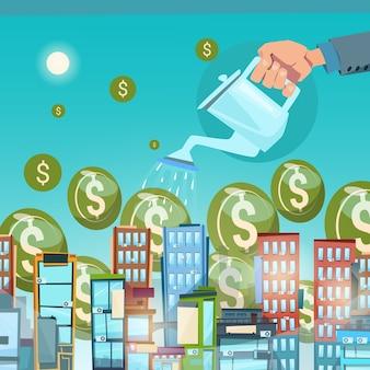 Businessman Hand Watering Money
