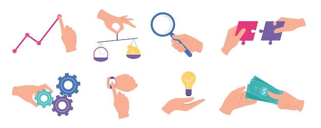 Businessman hands. business analysis and statistic, research work, teamwork, time management, creative ideas and audit concepts vector set. illustration business research and idea in hand