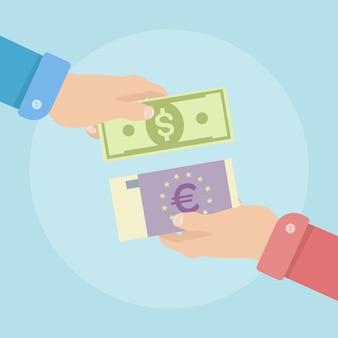 ビジネスマンの手は通貨を交換します