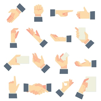 Businessman hands gestures. direction pointing hand, giving handful gesture and hold in male hands cartoon  illustration set