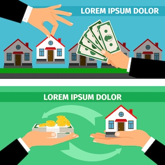 Businessman hands giving money and taking house building banner set