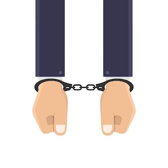 Бизнесмен руки в наручниках дизайн иллюстрация
