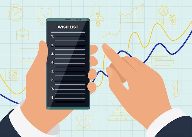 사업가는 성공적인 수익성을 위해 디스플레이 화면에 위시리스트 앱이 있는 스마트폰을 들고 있습니다.